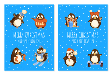 Merry Christmas penguin wearing knitted sweater vector. Illustration