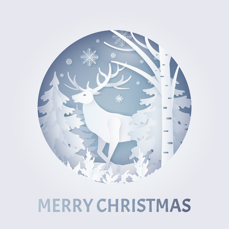 Merry Christmas postcard with deer near trees with snowflakes in round frame. Decorated greeting card with snow falling weather in white color vector, paper art and craft style
