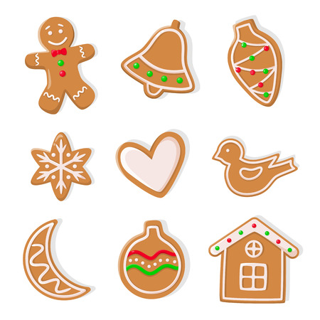 Gingerbread cookies, man and bells hearts isolated icons set vector. Bauble in form of cone, moon and ball, house and heart, birdie ginger biscuit
