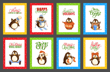Merry Christmas penguin wearing knitted sweater with pine tree print vector. Hobby skating and skiing, presents and gifts with bows, ribbons decor 向量圖像
