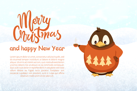 Christmas and New Year, penguin with coffee cup in knitted sweater. Arctic bird in winter clothes and hot beverage vector. Dressed animal, greeting banner 일러스트