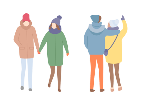 Couples spending time outdoors walking together vector. People cuddling embracing, wearing warm clothes, winter season cold days. Pair hold hands Vetores