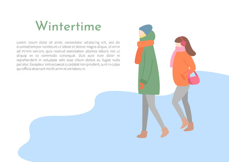 Couple of man and woman going outdoor in jacket with hood and scarf, hat and earmuffs and mittens. Walking girl and boy in wintertime, side view vector Illustration