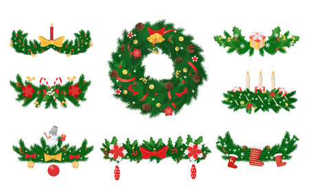 Christmas wreath made of pine and candles bows vector. Decoration with ribbons, leaves and balls, socks for presents and toys, bell on spruce circle