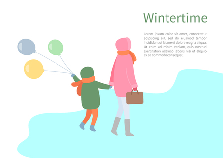 Walking mum and child turning back in jacket with hoot and scarf in wintertime. Mother holding handbag and kid going with balls, vector isolated on white