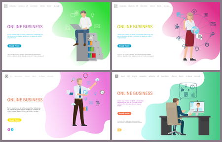 Online business, working male with laptop, searching for information vector. Woman interacting with digital world, charts and analysis of results Illustration