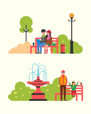 Couple sitting in autumn park on bench with notebook. Color trees, blue sky and happy man and daughter spending time together at fall time, flat vector Illustration