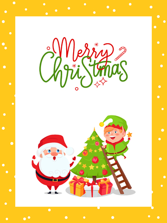 Greeting major card with Christmas tree and Santa. Vector huge xmas spruce decorated by New Year toys. Happy Father Frost and joyful Elf on holiday eve