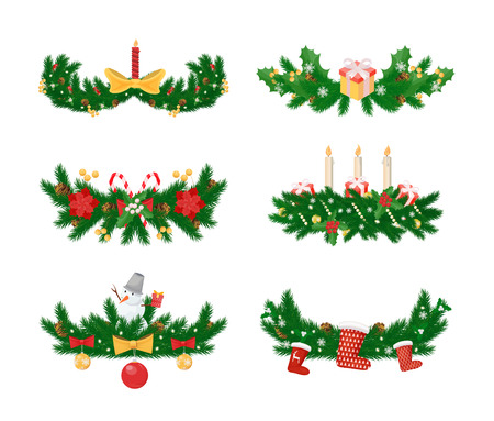 Pine branches with candle and socks, baubles toys vector.