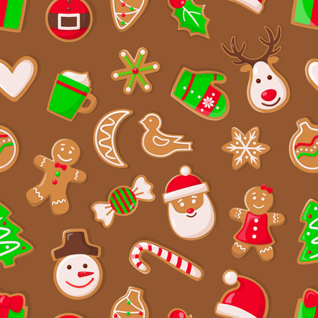 Gingerbread man and Santa Claus, reindeer and candy vector. Snowman with carrot nose and mug with beverage, bird and snowflake ornament seamless pattern