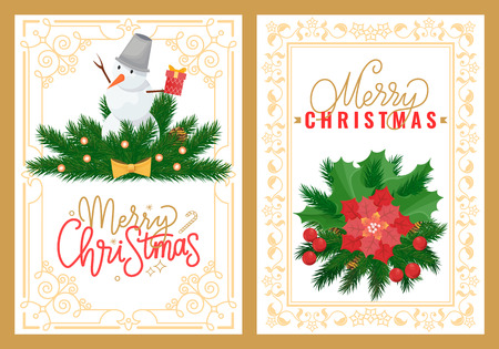 Snowman with bucket on head on spruce branches, winter Christmas and New Year holidays decorations in ornamental frame. Иллюстрация