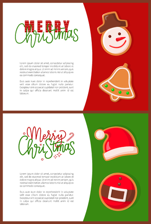 Merry Christmas greeting, gingerbread cookies in shape of snowman and jingle bell, Santa hat and belt. Winter holiday treat or dessert of dough vector  イラスト・ベクター素材