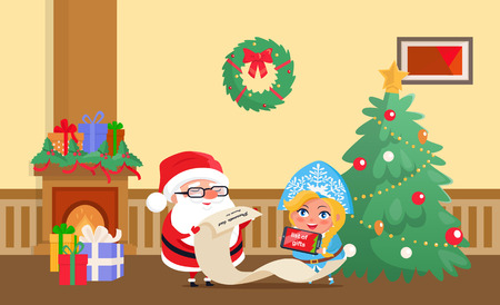 Merry Christmas Santa Claus and snow maiden at home vector. Winter characters checking list with presents, fireplace and tree decorated with baubles