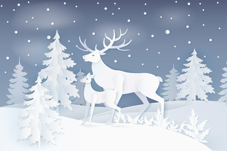 Nature at night with deer and fawn near spruce trees with snowflakes.