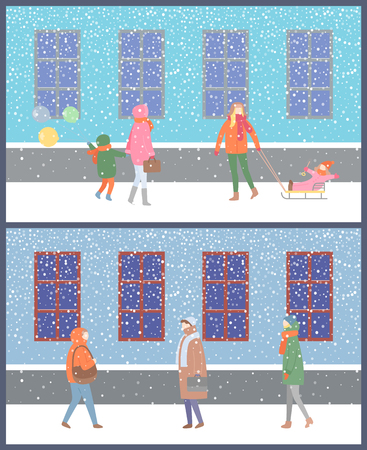 Wintertime cold season of year people and kids vector. Ilustracja