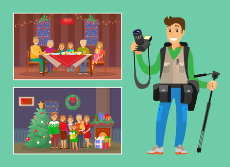 Christmas holiday celebration memorable photo of family eating dinner and posing by tree vector. Professional photographer, with camera in hands set