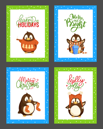 Merry Christmas holly jolly penguin posters set with greeting text vector. Animal with present, gift with bow and ribbons, socks and knitted sweater