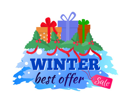 Winter sale and best offer vector isolated presents. Holiday price tag with blue painting color and points, colorful gift boxes and mistletoes with ribbons