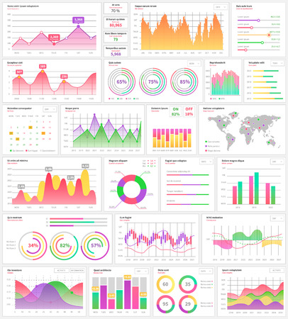 Infographics and info charts visualization information vector. Illustration