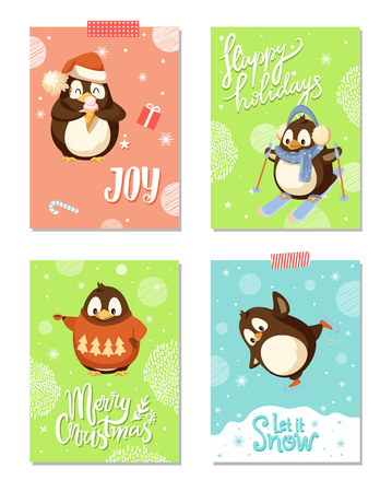 Arctic penguins, Christmas holiday greeting cards. Bird in Santa hat with ice cream, skis and earmuffs, scarf and sweater, coffee cup and skates vector 스톡 콘텐츠 - 125782698