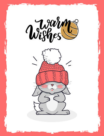 Merry Christmas postcard warm wishes, little gray smiling bunny dressed in knitted red winter hat and scarf on forehead, calligraphic lettering, vector