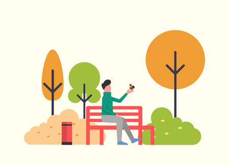 Man sitting with bird in autumn fall season park vector. Male relaxing on nature, trees and bushes with leaves foliage. Autumnal scenery, flora fauna