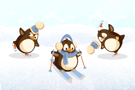 Penguins on skates and skis, outdoor activity. Christmas holiday, Arctic bird in hat with bubo and earmuff with scarf vector. Winter sport on snow and ice Illustration