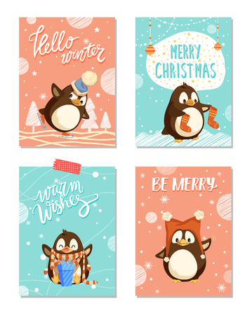 Merry Christmas holly jolly penguin in winter vector. Skating bird wearing hat and knitted scarf, socks. Present with decorated bows ribbons holiday Illustration