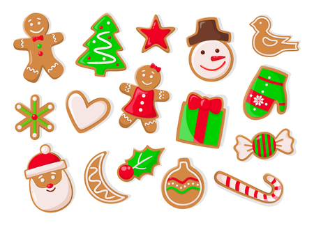 Christmas holidays symbolic isolated icons of gingerbread cookies vector. Snowman and pine tree evergreen spruce, heart and candy lollipop stick mistletoe Illustration