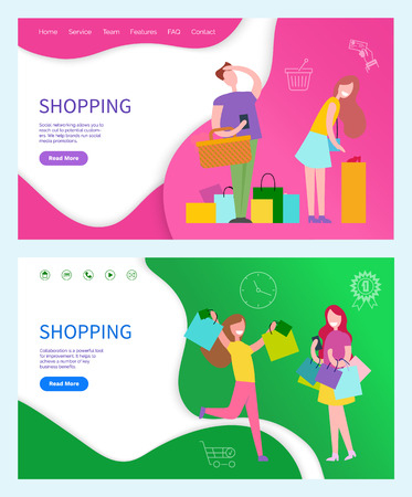 Shopping illustration with two women in yellow and purple t-shirt and in skirt and trousers.