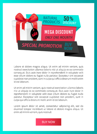 Natural products, mega discount 50 percent off web page template vector. Best offer with premium goods, purchasing of store items. Gift with price tag