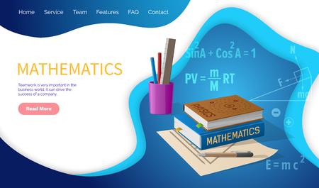 Vector de disciplina escolar de álgebra y geometría de matemáticas.