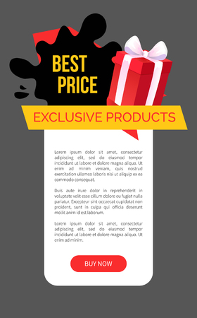 Exclusive products, best choice and price in shop vector web site templates. Present box and ribbon, proposal to customers to economize and save money, offer Illustration