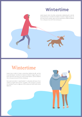 Hugging couple standing back and speaking and walking girl with dog in jacket with hoot and mittens outdoor in wintertime.