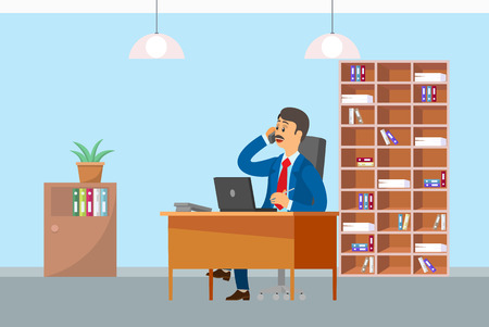 Boos working in office and talking on mobile phone vector.