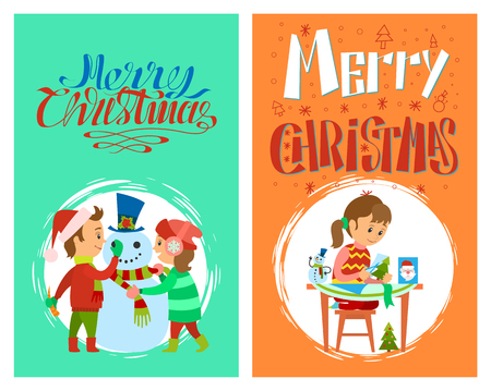 Merry Christmas holidays preparation of girl with cards and children making snowman, vector in round brush frame. Child making handmade winter character Standard-Bild - 125782725