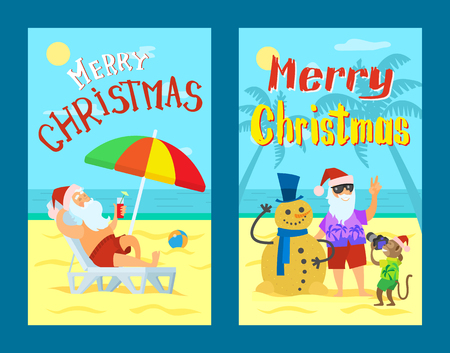Merry Christmas, Santa Claus making photo with snowman made of sand in winter hat and scarf. Ilustrace
