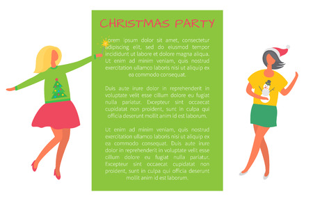 Christmas party celebration women in sweaters on winter theme and text sample. Business ladies on high heels celebrating Xmas and New Year holidays, poster Illustration