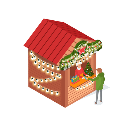 Kiosk at street, Christmas fair, person buying items vector. Xmas season salesperson selling spruce, artificial pine tree for decoration of houses