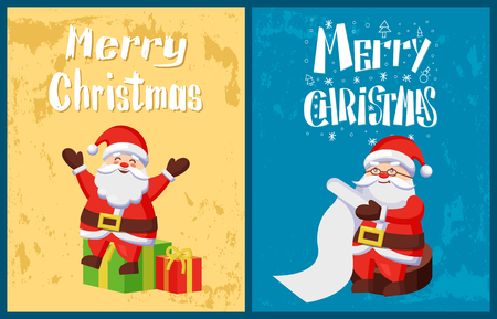 Merry Christmas, Santa Claus reading wish list, send greetings to kids sitting on Xmas packages with presents. Saint Nicholas and surprises for children