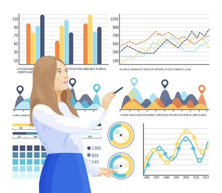 Infographies et structure d'informations, femme pensant à l'explication du vecteur d'infocharts. Planification de la stratégie de l'entreprise. Ensemble d'organigrammes et de diagrammes à secteurs
