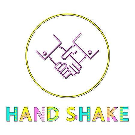 Hand shake partnership gesture color round framed line art icon. Deal or agreement, teamwork or greeting sign vector illustration for isolated on white.