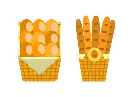 Baguettes and buns in wooden basket vector bakery shop long loaves of bread isolated on white. French moulding fresh breads in package vector icons 写真素材 - 125728034