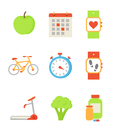 Wristwatch and apple isolated icons set vector. Apple and calendar, bicycle and clock, broccoli vegetable