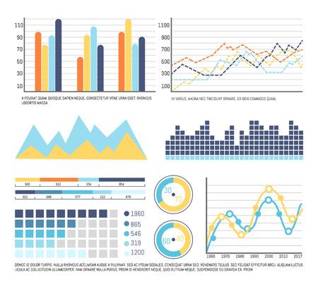 Infographics and graphic charts business data presentation vector. Timelines and tables, flowcharts with figures and statistics. Pie diagram info set Banque d'images - 125728051