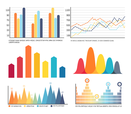 Infographics and charts with lines graphics vector. Dots and curves, visualization and conceptualization of data. Schemes and numeric figures results