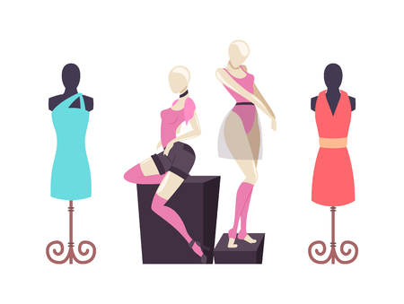 Mannequins with clothes dresses and shorts vector. Showcase of clothing, classic casual robe. T-shirt and choker accessory set with light short skirt