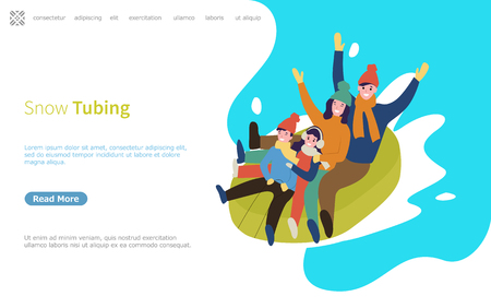 Snow tubing family going downhill on rubber material web page with text sample vector. Иллюстрация