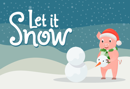 Let it snow poster with piglet in warm cloth on winter  with hills and snowflakes. Иллюстрация