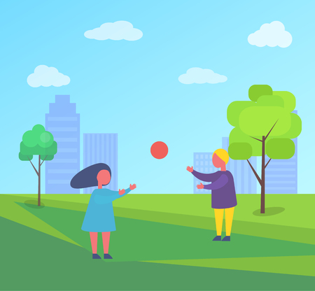 Two children playing with ball outside in city park. Boy and girl spend time outdoors, vector sport activities on background of buildings and green trees Stock Illustratie
